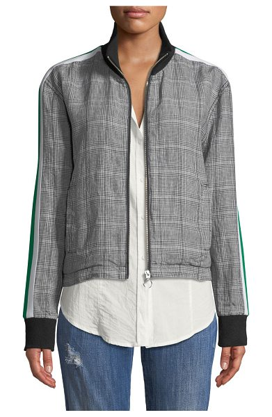 "Current/Elliott Dassen Plaid Side-Stripe Linen Bomber Jacket in gray pattern - Current/Elliott ""Dassen"" jacket with contrast..."