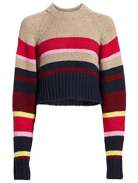 Current/Elliott moonshine striped wool-blend crop sweater in brown multi