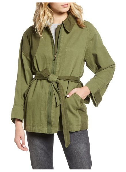 Current/Elliott relaxed cotton & linen military jacket in army green