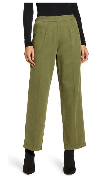 Current/Elliott the cropped military camp cotton & linen pants in army green