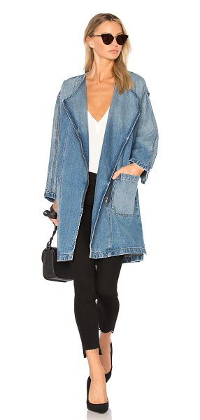 CURRENT/ELLIOTT The Davida Trench - Cotton blend. Asymmetrical front zipper closure. Side...