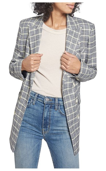 Current/Elliott The Demi Check Blazer in black sulphur