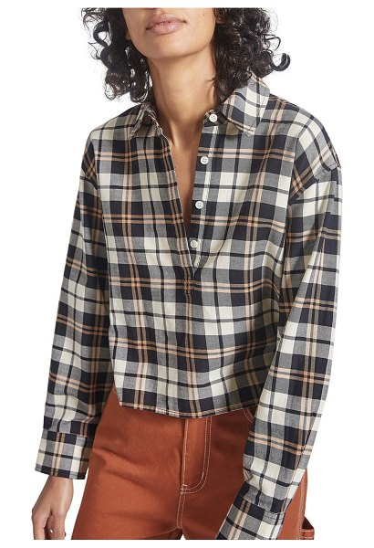 Current/Elliott the mets crop button-up shirt in helena plaid