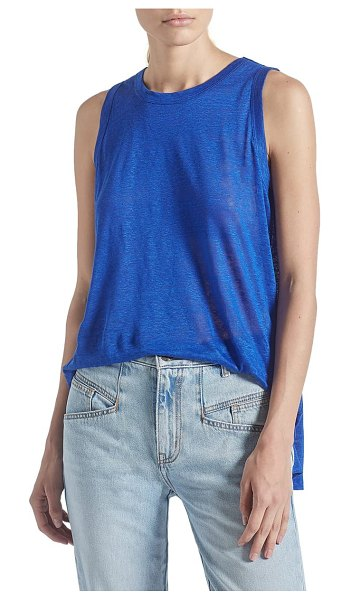 Current/Elliott the muscle linen tank in royal blue
