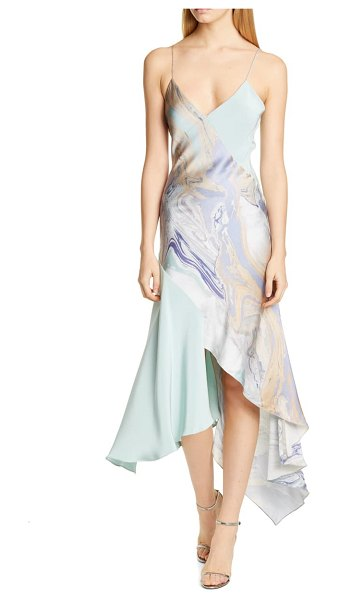 Cushnie asymmetrical slipdress in water marble print/ sea green
