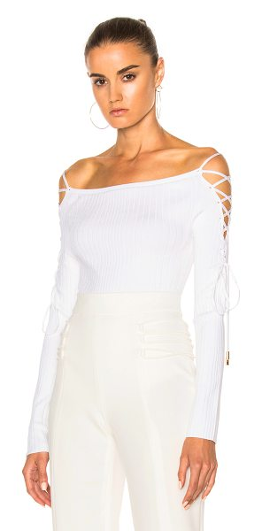 Cushnie et Ochs Boatneck Lace Up Sleeve Bodysuit in white - 83% viscose 17% poly.  Made in USA.  Dry clean only. ...