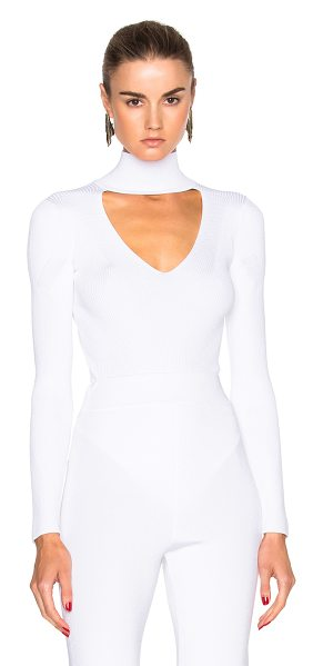 CUSHNIE ET OCHS Turtleneck Bodysuit - 83% rayon 17% poly.  Made in USA.  Dry clean only.  Rib...