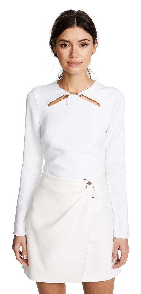 CUSHNIE ET OCHS violetta long sleeve top - Thin cutouts and a metal half-circle accent the neckline...