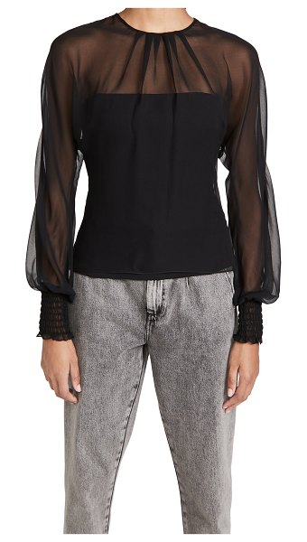 Cushnie fitted top with chiffon long sleeve over in black