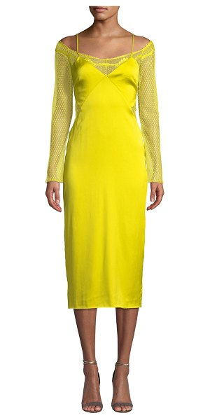 Cushnie Lace-Sleeve Satin Slip Dress in lime