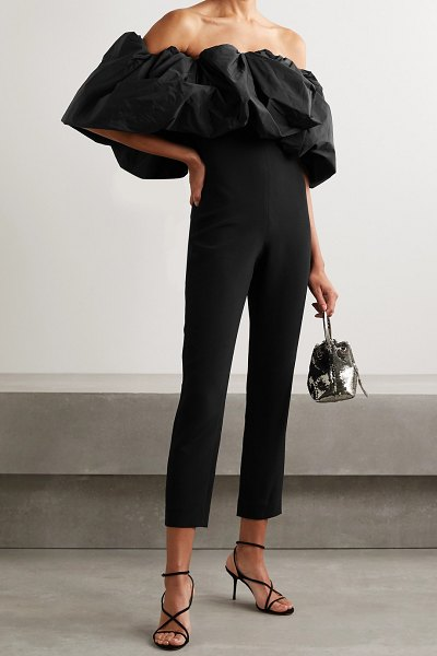 Cushnie off-the-shoulder stretch-crepe and taffeta jumpsuit in black