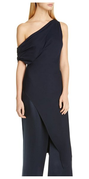 Cushnie one-shoulder draped tunic dress in navy