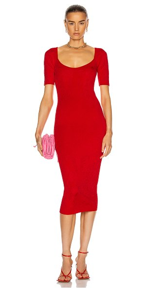 Cushnie rounded square neck floral jacquard dress in rouge