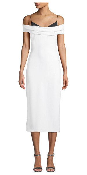 Cushnie Two-Tone Off-the-Shoulder Stretch-Cady Pencil Dress in white/black