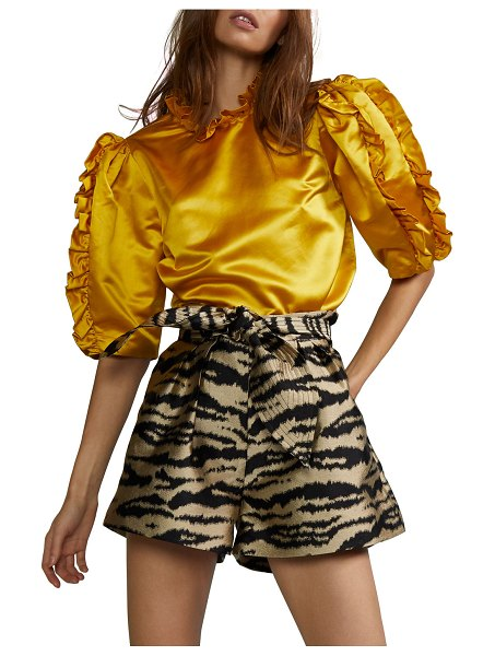 Cynthia Rowley Felicity Puff-Sleeve Satin Ruffle Top in marigold