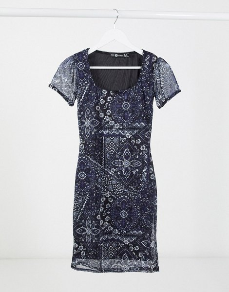 Daisy Street '90's mini dress in patchwork floral-navy in navy