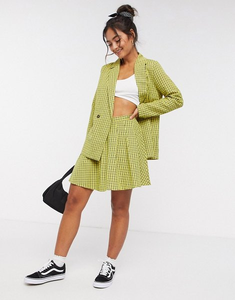 Daisy Street mini pleated skirt in vintage check-yellow in yellow