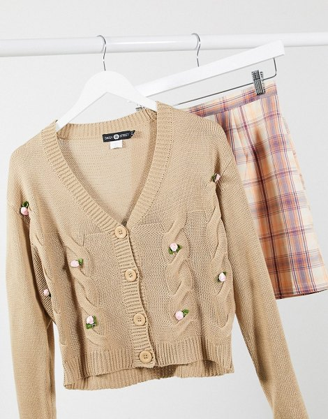 Daisy Street oversized cardigan with bow applique in cable knit-beige in beige
