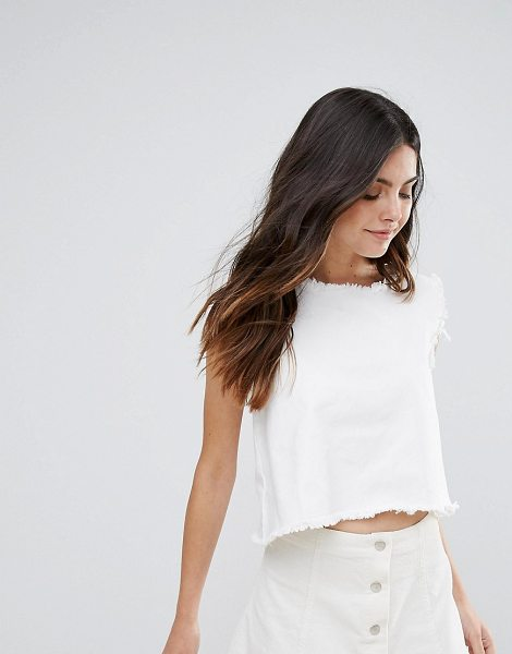 "Daisy Street Raw Edge Box Top in white - """"Top by Daisy Street, Non-stretch denim, Round neck,..."