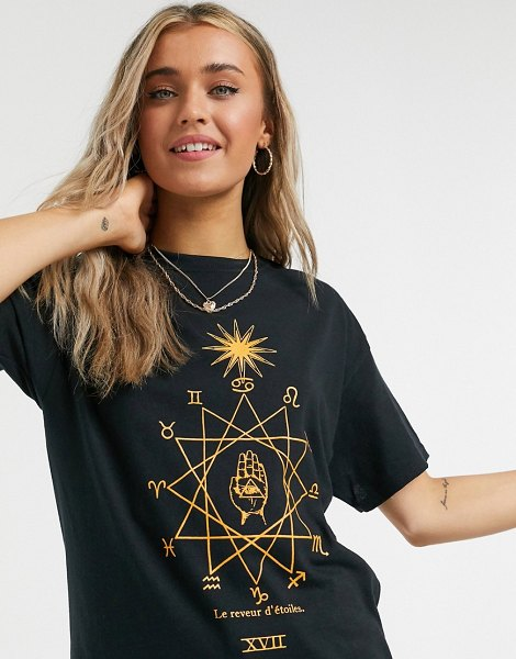 Daisy Street relaxed t-shirt with star dreamer print-black in black