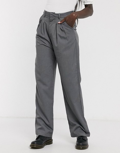 Daisy Street relaxed wide leg pants with pleat front two-piece-gray in gray
