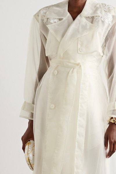 Danielle Frankel allegra corded lace-trimmed organza and tulle trench coat in ivory