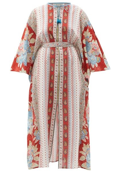 D'ASCOLI josefa striped and floral-print cotton kaftan in red multi