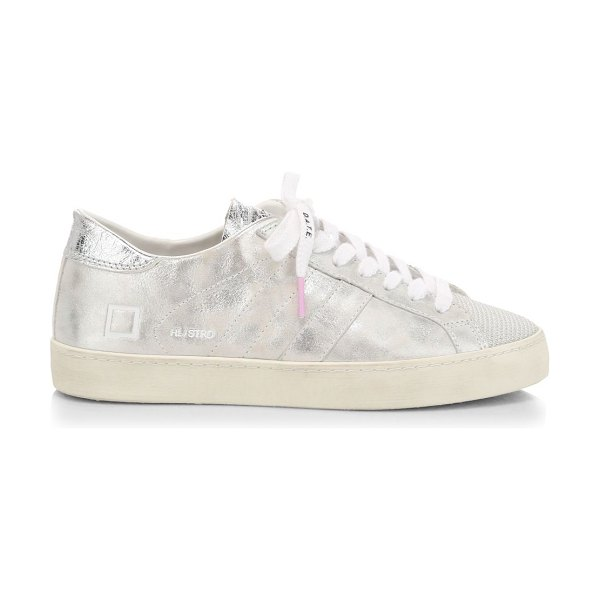 D.A.T.E. hill low stardust leather sneakers in silver