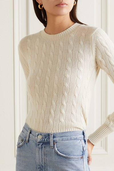 Daughter &nora cable-knit cashmere sweater in cream