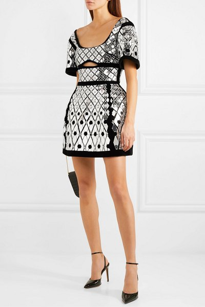 David Koma cutout embellished velvet mini dress in black