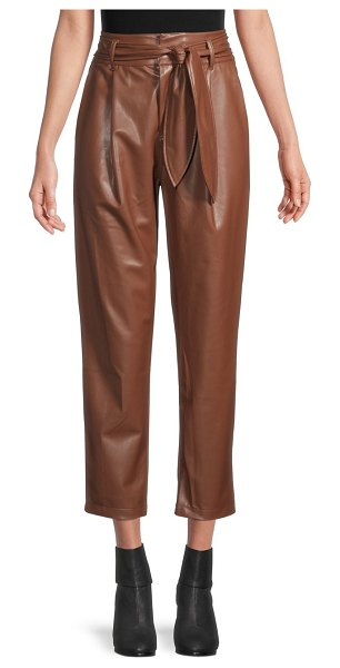 David Lerner Lexi Belted Paperbag Faux Leather Pants in cognac
