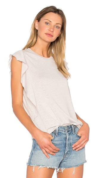 DAVID LERNER Ruffle Tank - Cotton blend. Ruffle sleeves. Jersey knit fabric....
