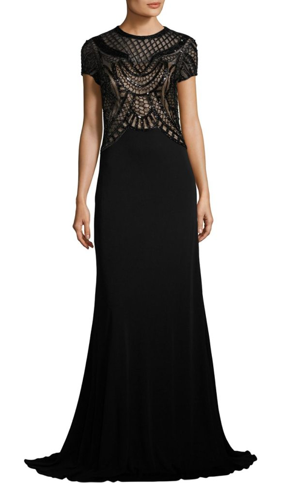 David Meister Beaded Jersey Gown in Black | Shopstasy
