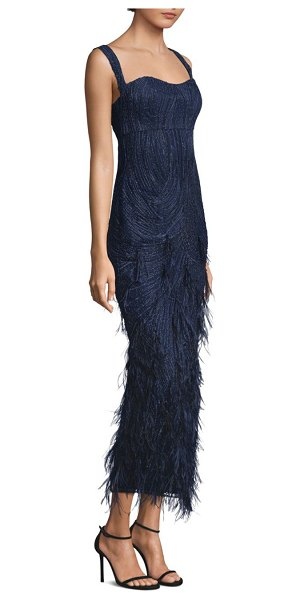 David Meister Embellished Feather-Accented Gown in Blue | Shopstasy
