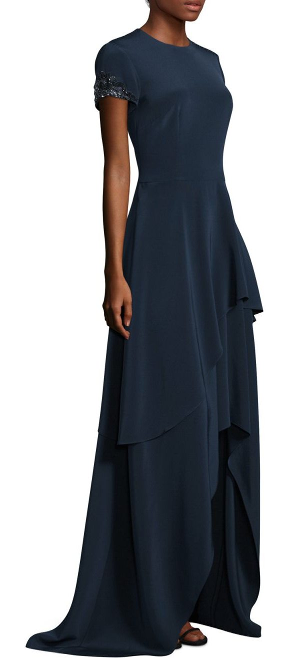 DAVID MEISTER Floor-Length Tiered Asymmetrical Hem Gown | Shopstasy