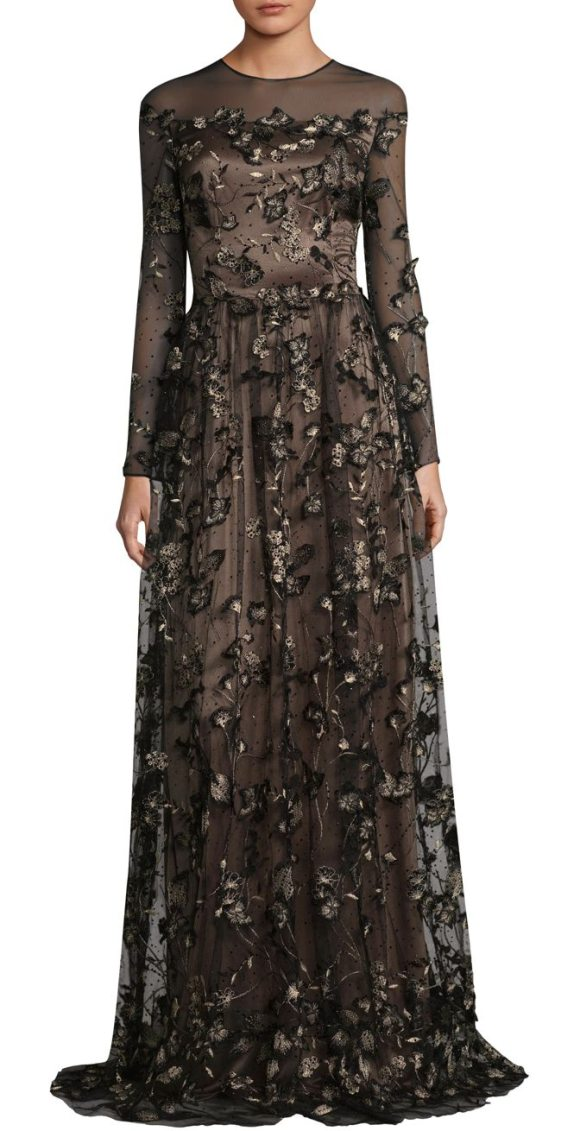 David Meister Floral A-Line Gown in Black | Shopstasy