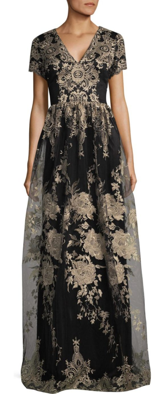 David Meister Floral Floor-Length Gown in Yellow | Shopstasy