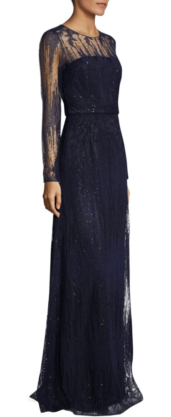 DAVID MEISTER Sequin Long-Sleeve Gown | Shopstasy