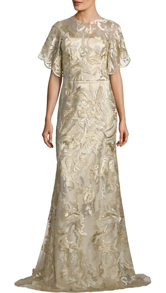 David Meister metallic embroidered gown in gold - Allover embroidery amplifies this gorgeous gown....