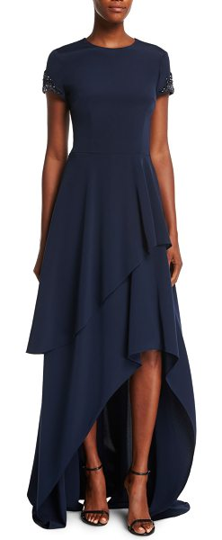 David Meister Short-Sleeve Beaded-Cuffs Tiered Evening Gown in Blue ...