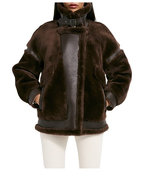 Dawn Levy Sean Biker Jacket with Soft Shearling and Leather Accents in chocolate