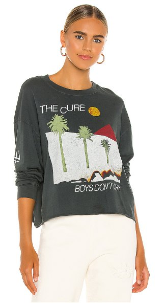 DAYDREAMER the cure boys don't cry oversized long sleeve crop tee in vintage black