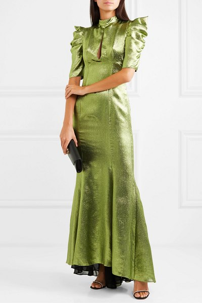 DE LA VALI audrey ruched lurex maxi dress in green