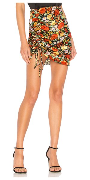 """Delfi Collective Nia Skirt in black - """"100% silk. Hand wash cold. Unlined. Front ruched detail..."""