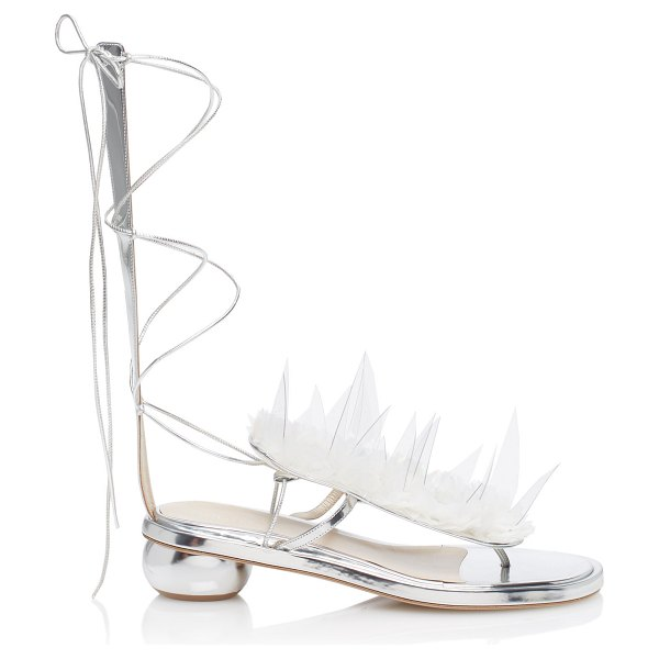 Delpozo lace-up mid-heel sandals in silver - Delpozo's lace-up sandals are crafted with a floral...