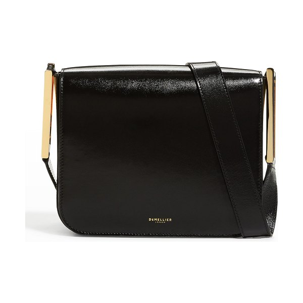 DEMELLIER Stockholm Smooth Leather Crossbody Bag in black high gloss