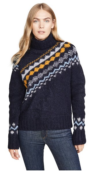 DEREK LAM 10 CROSBY diagonal fair isle turtleneck sweater in navy multi