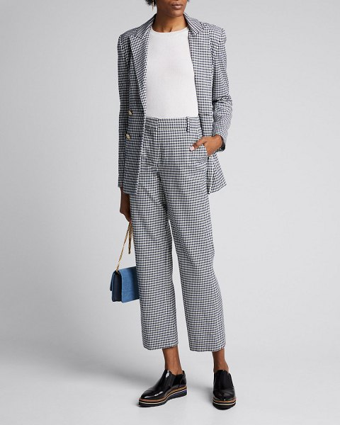 DEREK LAM 10 CROSBY Galen Straight Trousers in blue/white
