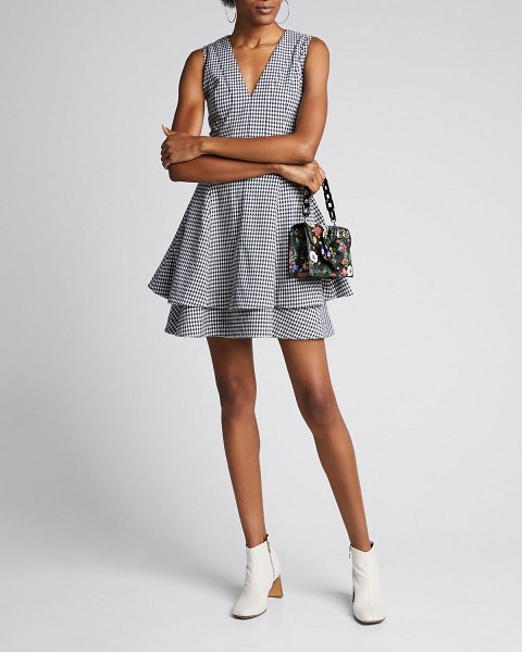 DEREK LAM 10 CROSBY Koren Fit-and-Flare Dress in blue/white