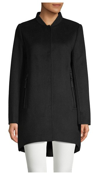 DEREK LAM 10 CROSBY Mixed-Media Baseball Collar Jacket in black - Essential wool blend jacket finished with quilted back...